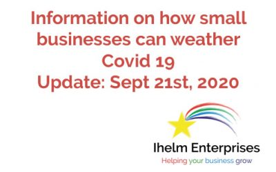 Updated Information on how small businesses and the self-employed can weather Covid 19 – September 21st, 2020