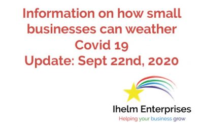 Updated Information on how small businesses and the self-employed can weather Covid 19 – September 22nd, 2020