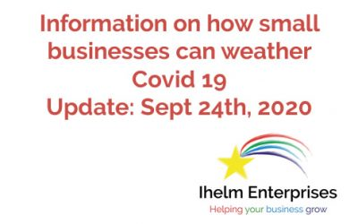 Updated Information on how small businesses and the self-employed can weather Covid 19 – September 24th, 2020