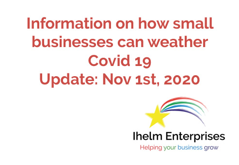 Updated Information on how small businesses and the self-employed can weather Covid 19 – November 1st, 2020